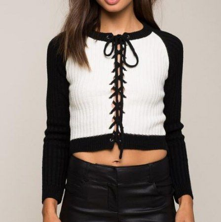 Black and white color block sweater for lady lace up sweater