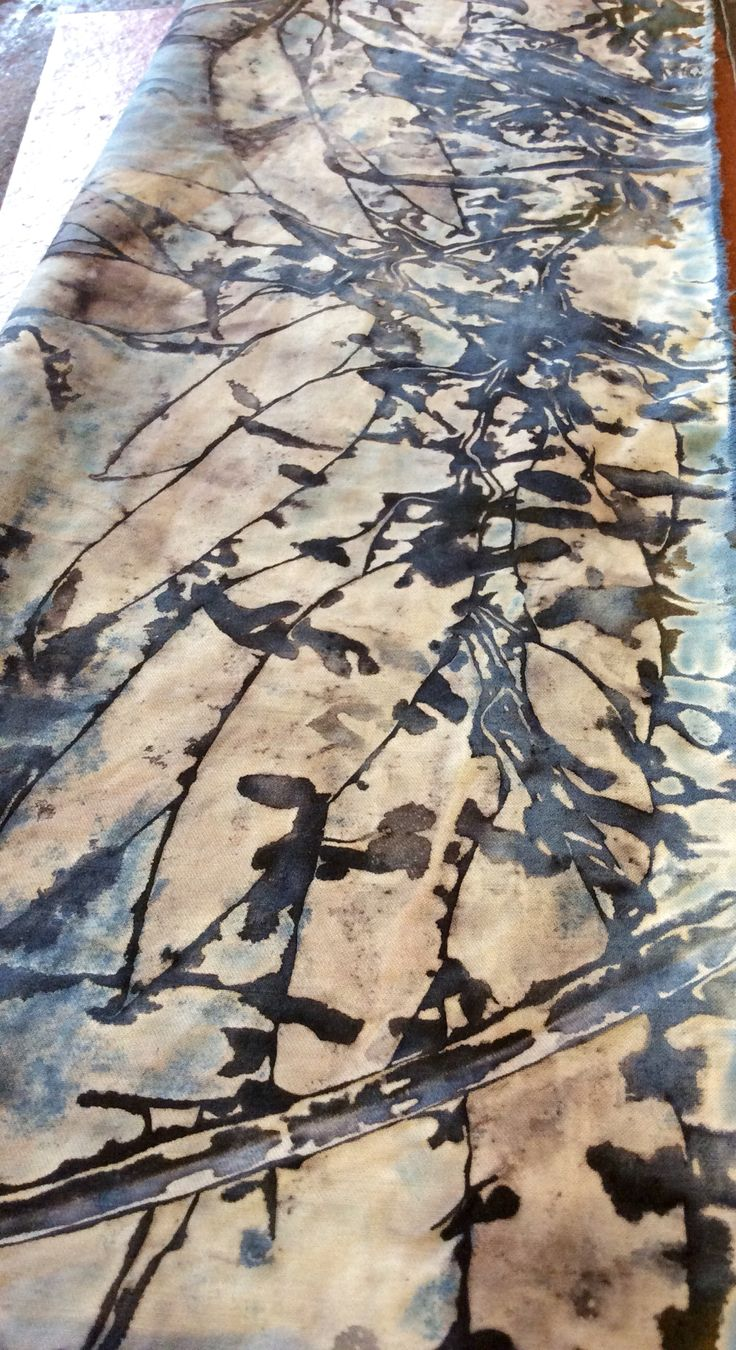 Natural dying and printing with leaves, eucalyptus and indigo on cotton