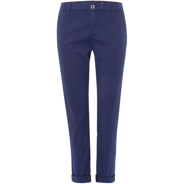 AG Jeans The Tristan Trouser in colonial blue (16.285 RUB) ❤ liked on Polyvore featuring pants, capris, blue, women, flat front pants, stretchy pants, stretch pants, blue trousers and tailored pants