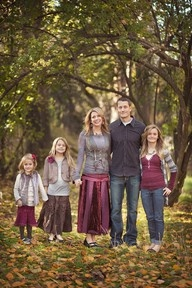 clothing ideas for family pictures - Google Search Purples, greys (grey is popular right now) denim pretty
