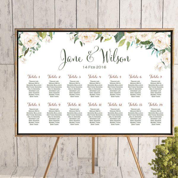 White Flower Printable Custom Wedding Seating Chart Wedding Seating Poster