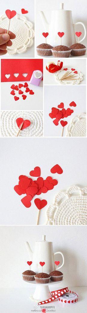 Decoração para bolo ou cupcake com coração para o dia dos namorados