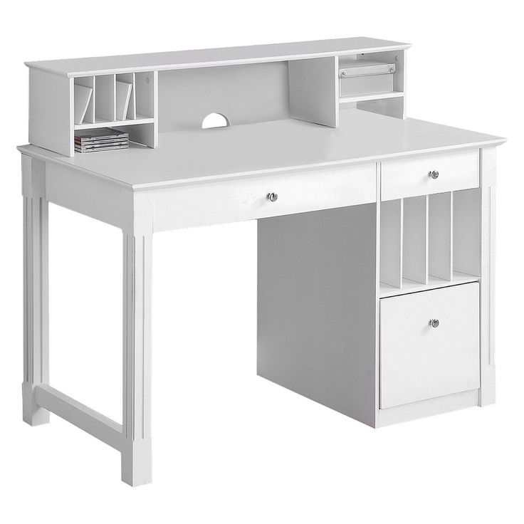 Deluxe Solid Wood Desk with Hutch White - Walker Edison