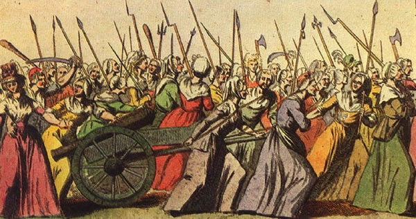 An illustration of the Women's March on Versailles, 5 October 1789.