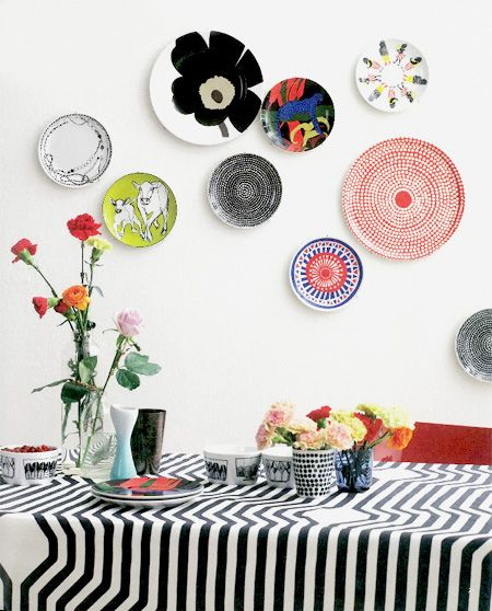 Marimekko on display By elce stockholm #pintofinn I love my Marimekko wax coated tablecloths!!!! So easy to clean and stylin!
