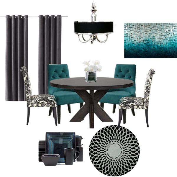 Black and teal dining room