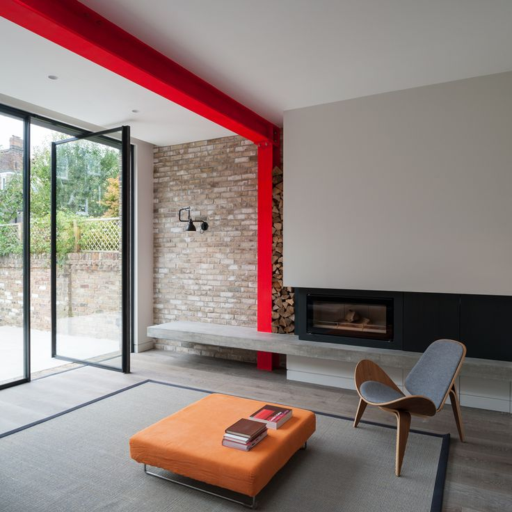 London house extension features bright-red steel frame