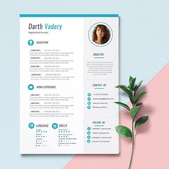 Creative Resume Template 2page  CV Template  Cover par KUNxShop