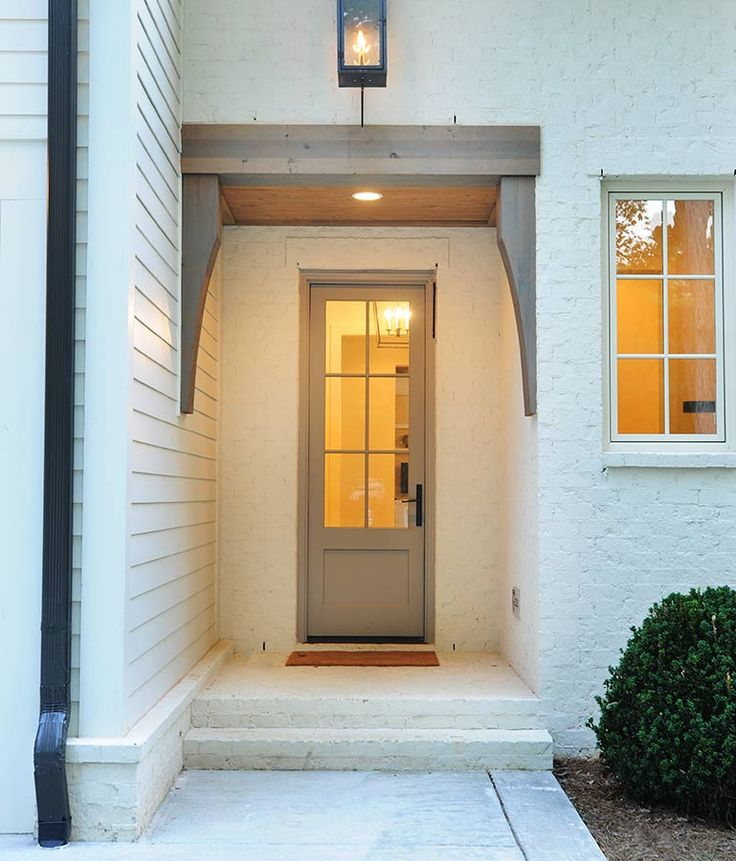 Side entry door header white brick home pinterest for Entry door with side windows