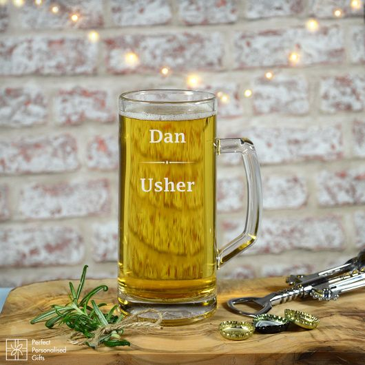 Usher Beer Tankard.  Give your User a special thank you on your wedding day.  This luxury Tankard is perfect as a gift to your Usher on your special day and a way for him to remember it forever.