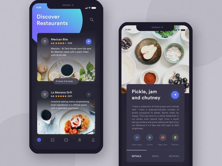 Restaurants app dark ui