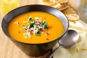 Pumpkin & sweet potato soup with coriander sambal & cumin flatbread