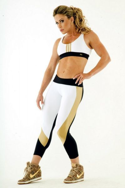Top Adidas e Calça Legging Branca Preta e Dourada Rio Fitness 0045-0024 Dani Banani Moda Fitness