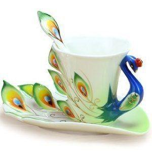 「コーヒーカップ 孔雀 3点セット (ブルーグリーン) 優雅な孔雀モチーフ おしゃれなコーヒーカップセット」の商品情報やレビューなど。