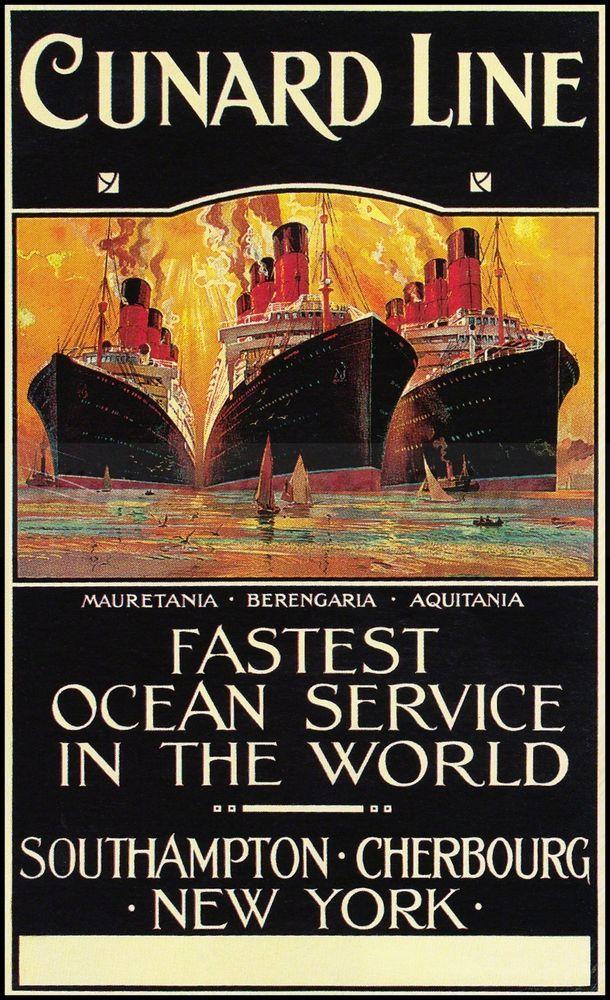 Cunard Line 1910 Fastest Ocean Servicehttp://stores.ebay.com/Vintage-Poster-Prints-and-more