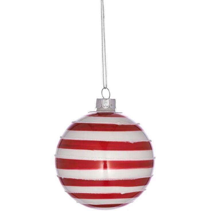 Fehér-piros csíkos karácsonyfadísz