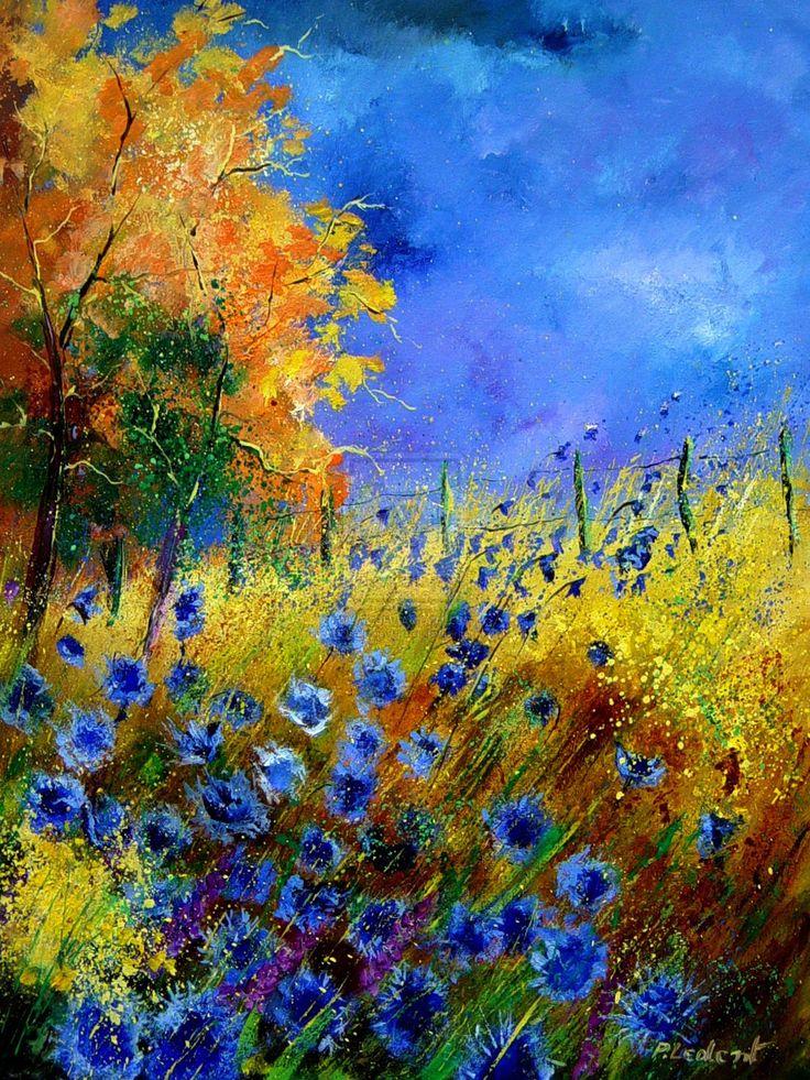Pol Ledent - Cornflower and Orange TreesBeautiful Flower, Wild Flower, Trees Art, Blue Sky, Colors, Orange Trees, Blue Flower, Pol Ledent, Blue Cornflower