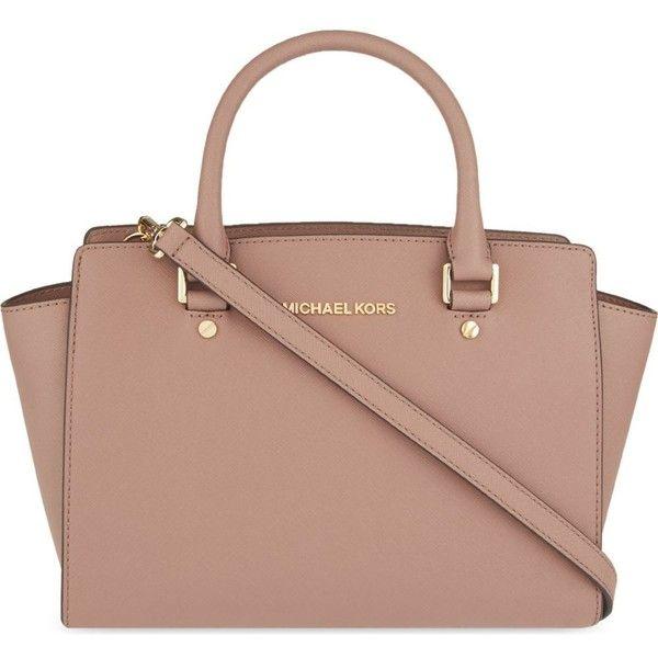MICHAEL MICHAEL KORS Selma medium Saffiano leather satchel (590 CAD) ❤ liked on Polyvore featuring bags, handbags, black, monogram purse, monogram handbags, black satchel handbag, black satchel purse and black purse