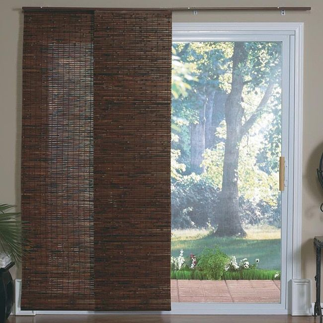 Lewis Hyman Java Mahogany Panel Track Sliding Window Shade (78 Inches X 84  Inches), Brown, Size 78 X 84 (Wood)