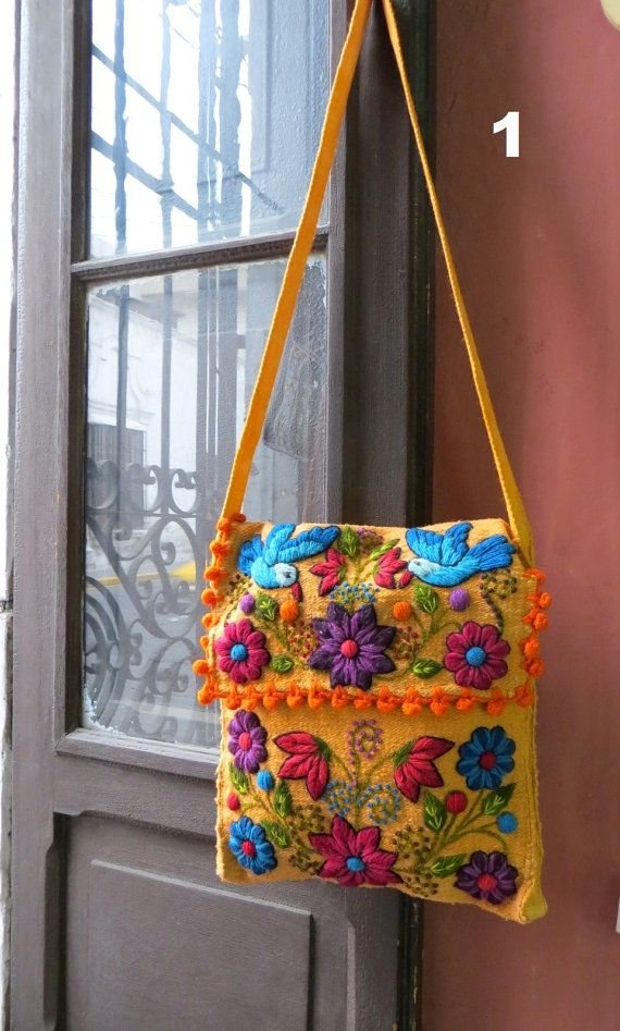 Woven wool and hand stiched embroidery side messenger by PeruNz, $47.00