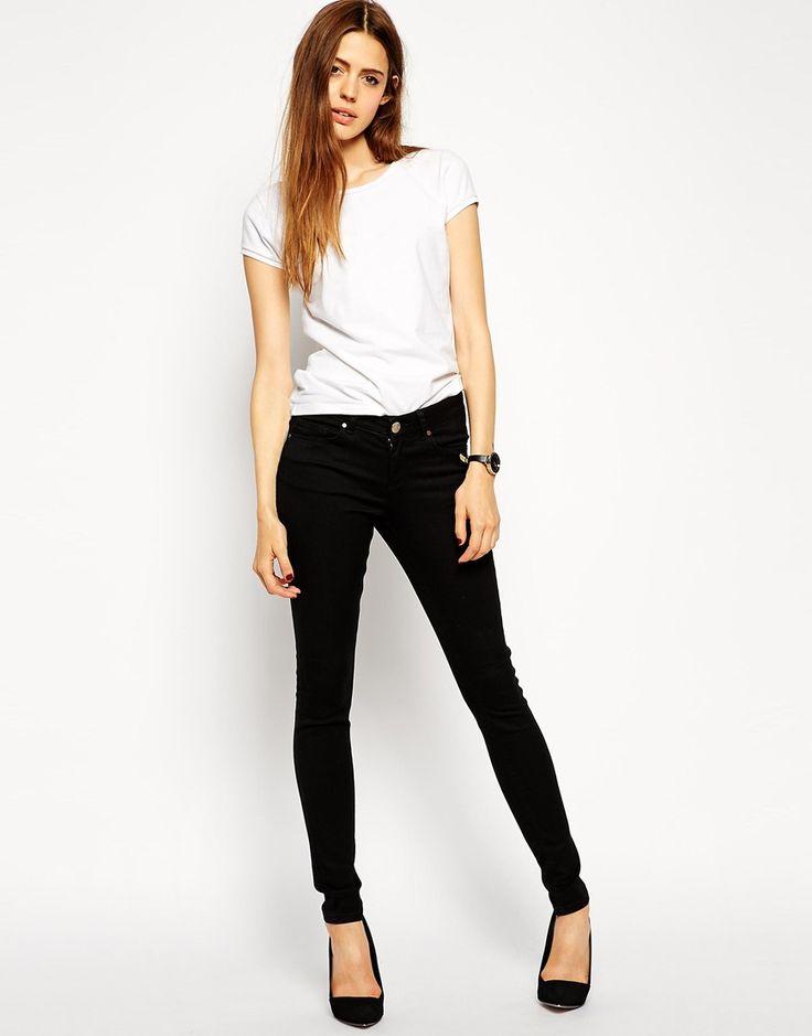 Изображение 1 из Черные джинсы скинни с классической талией ASOS Lisbon