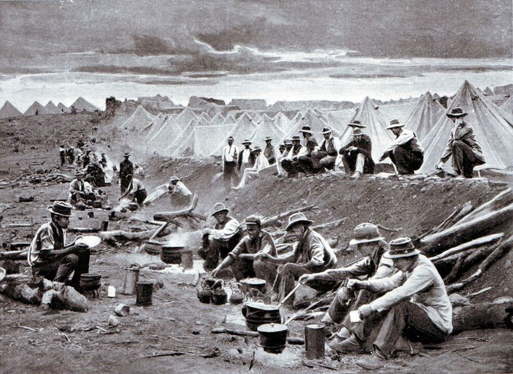 A Boer laager or encampment during the South African or Boer War