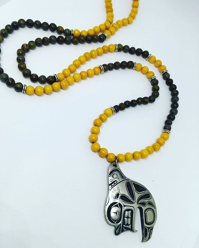 And the next addition to the 2018 Urban Gypsy collection ~ Inspiring Indigenous Roots Mala $70 📿 Handcrafted with a vintage Pewter Haida Guru pendant, Jasper and Yellow Coral beads. #theurbangypsy #edmontonartist #yegartist #yegmade #edmontonmade #malanecklace #bycurated