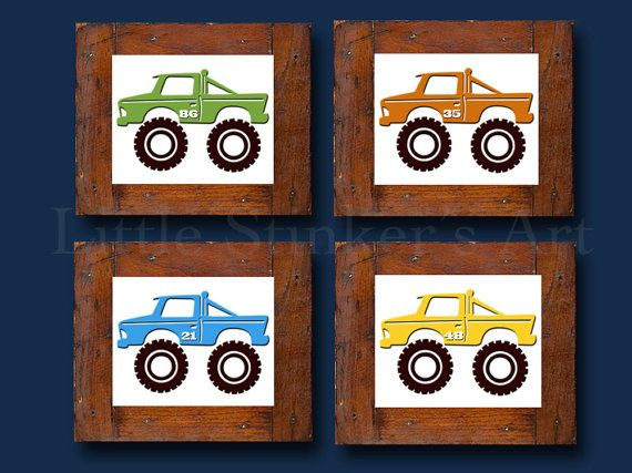 Monster Trucks Kids Wall Art, Transportation Art Print, Car Art, Boyu0027s Wall  Art