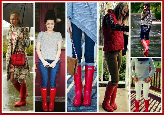 TELL ME this collage doesn't make you want a pair of Red Hunters!  Click the link to see other outfits with red hunters!