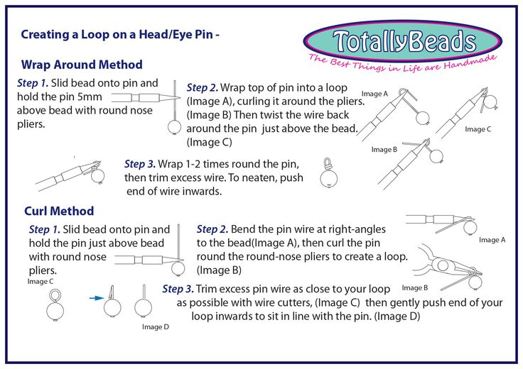 Creating a Loop on a Head or Eye pin - Instructions http://www.totallybeads.co.uk/index.php/lets-make-it/14-how-to/basic-techniques/23-beading-basics-page