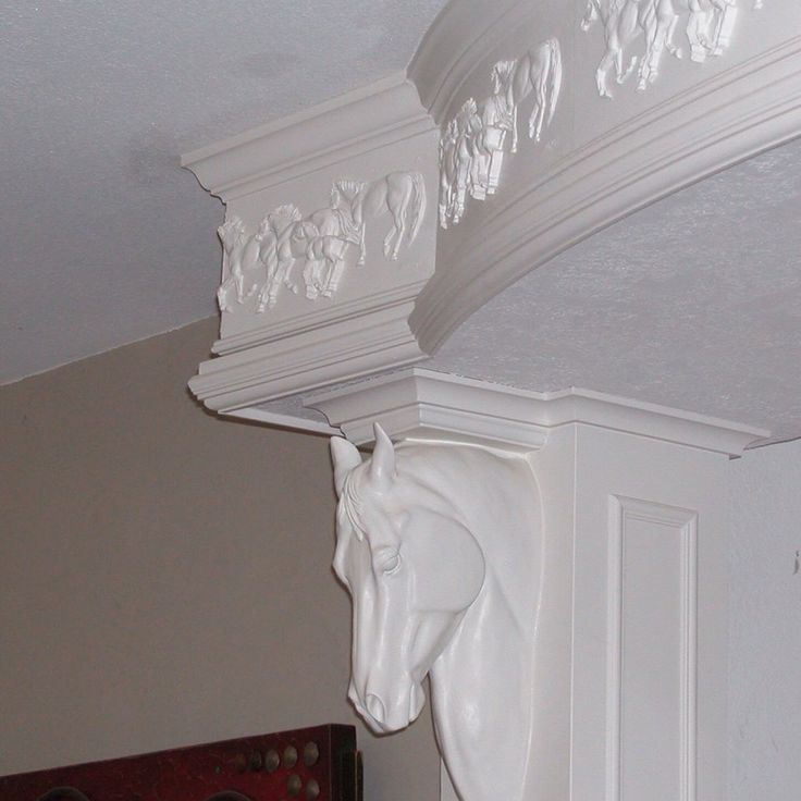 Horse crown molding and corbel