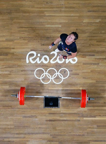 #RIO2016 Nazik Avdalyan of Armenia reacts during the Women's 69kg Group A weightlifting contest on Day 5 of the Rio 2016 Olympic Games at Riocentro Pavilion 2...