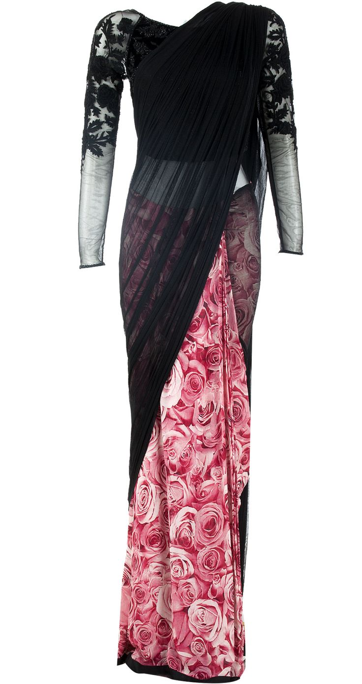 Love love love!! Black rose printed sari gown available only at Pernia's Pop-Up Shop.