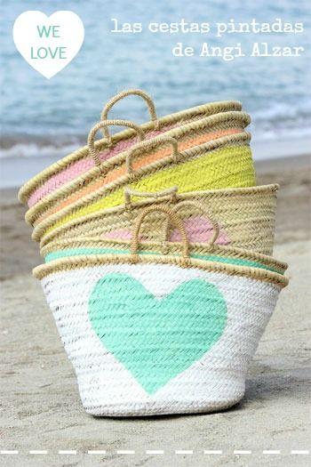 Lindas cestas pintadas y personalizadas