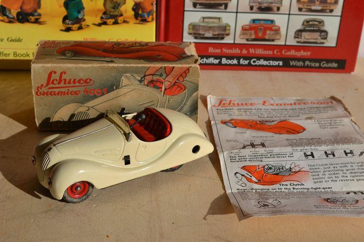 Antique Tin Toy# Box Schuco Excamico 4001 Pre War Windup Clockwork Car Germany