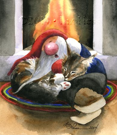 gnome and cat snuggling by fireplace. Illustration by Liz Hess.
