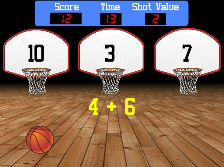 Here's a fun way for those sports fans in your classroom to practice their math facts. Shoot the basketball into the basket that shows the correct answer to the math problem.