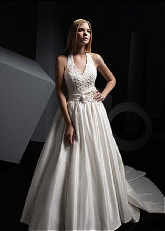 ELEGANT TAFFETA A-LINE HALTER NECKLINE WEDDING DRESS WITH BEADED LACE APPLIQUES HANDWORK FLOWERS