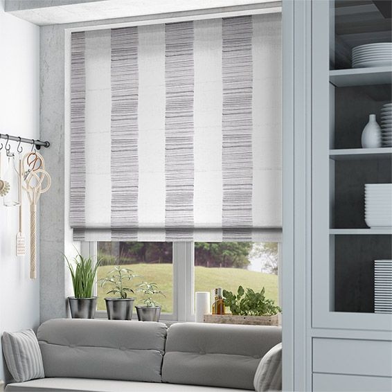 Ceramic Stripe Clay Grey Roman Blind