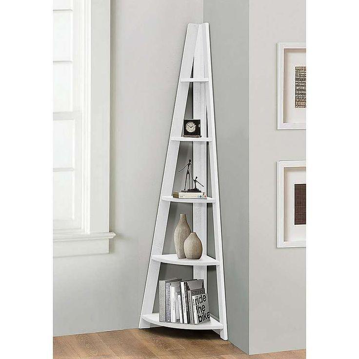 Nordic White Corner Bookcase | Dunelm