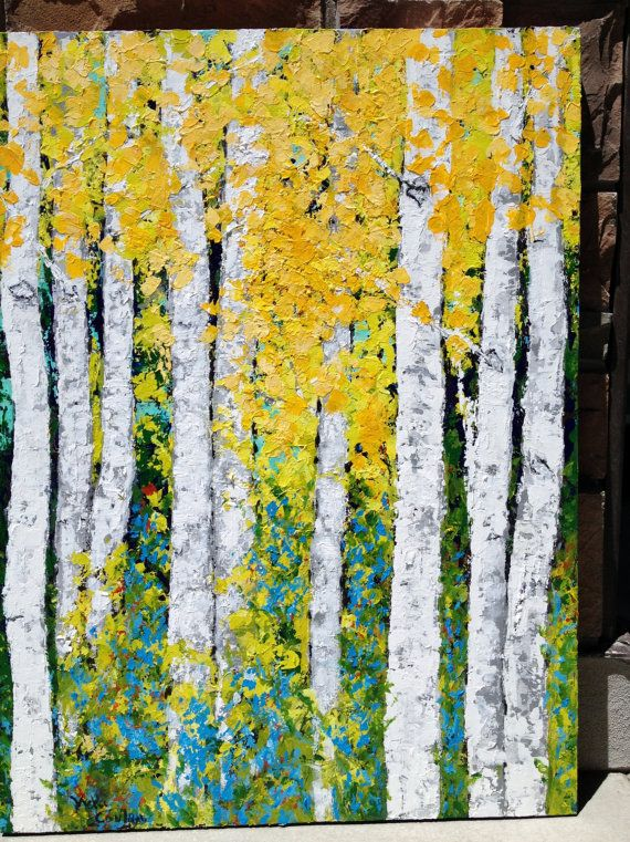 Aspen Birch Trees Original Acrylic Painting on 24 x 36 Canvas  by vickisart. Etsy.
