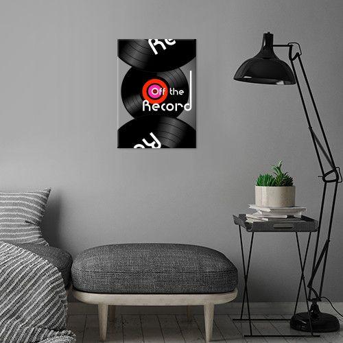 'Off the Record' -metal print @displate  #vinyl #discs #music #circles #retro #dj #homedecor #homestyle #house #pop #rock #culture #nostalgia #vinylrecord #text #art