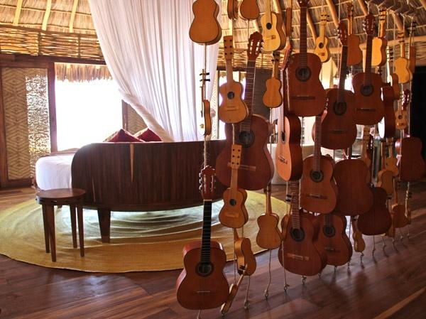 Unique wall in Hotelito Desconocido along Mexico's beautiful Costa Alegre.