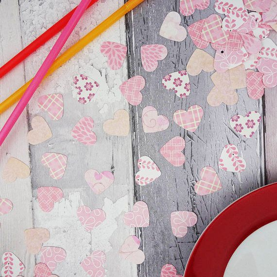Pink patterned heart confetti Birthday party table sprinkles