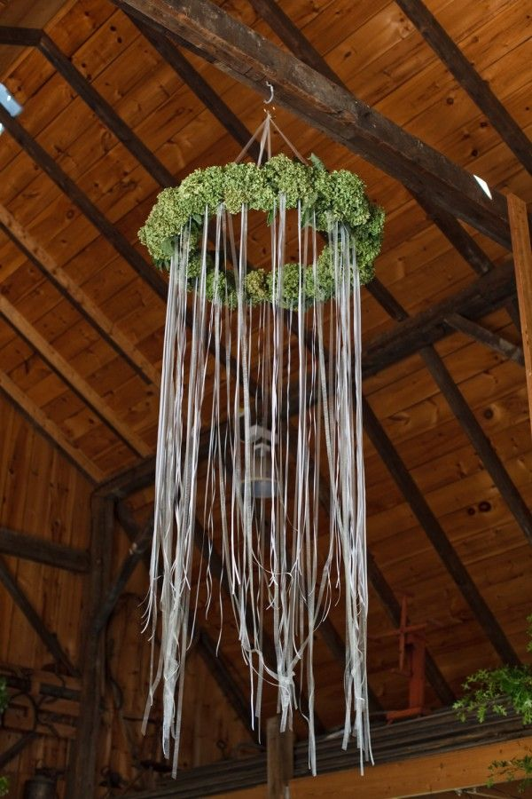 Garden Party Wedding: Venue - DIY Wreath (Hula Hoop with ribbons and surrounded by green hydrangeas). Super easy and neat DIY wedding idea!