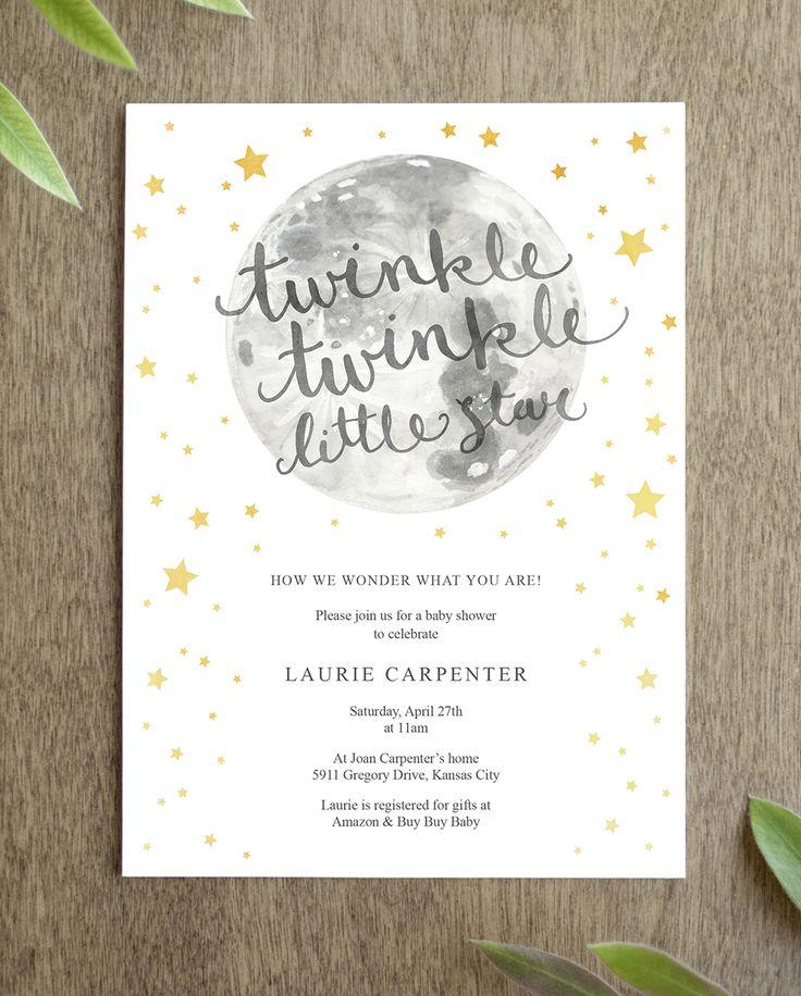 Twinkle Twinkle Little Star Baby Shower Invitation ...