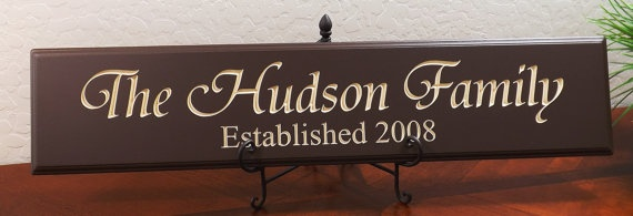 """Decorative Wood Sign Plaque Wall Decor Personalized with Family Name in Tiranti Font and Year Established Carved and Painted 28""""x6"""""""