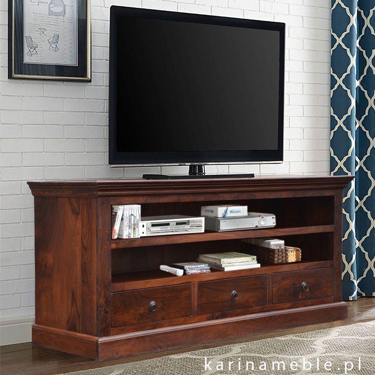 Stylowa i elegancka szafka pod telewizor zrobiona z ciemnego, brązowego drewna palisander indyjskie. Szafka z dwoma półkami i trzema szufladami.