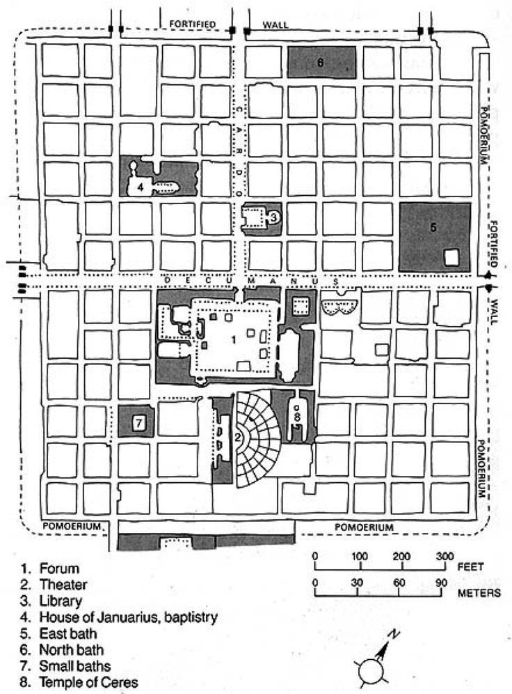 Plan of Roman castrum at Timgad, Algeria