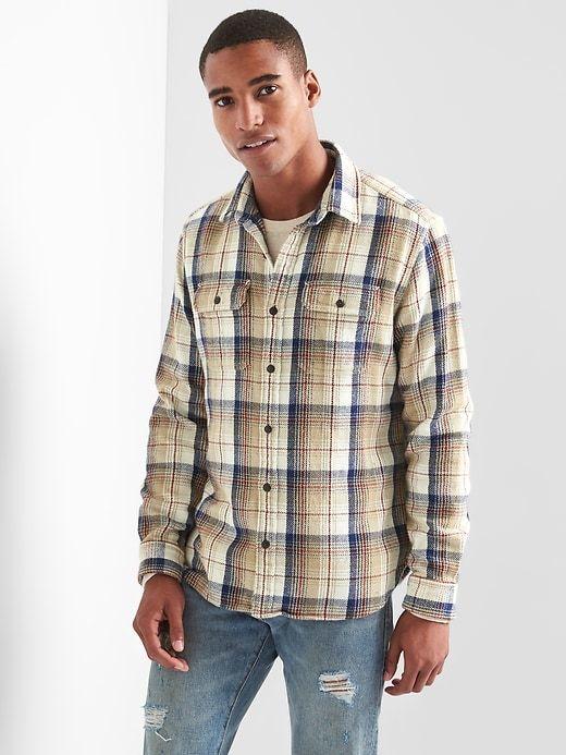 Gap Mens Flannel Overshirt Midbrown